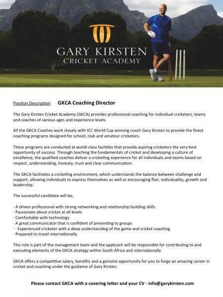 GKCA Coaching Director